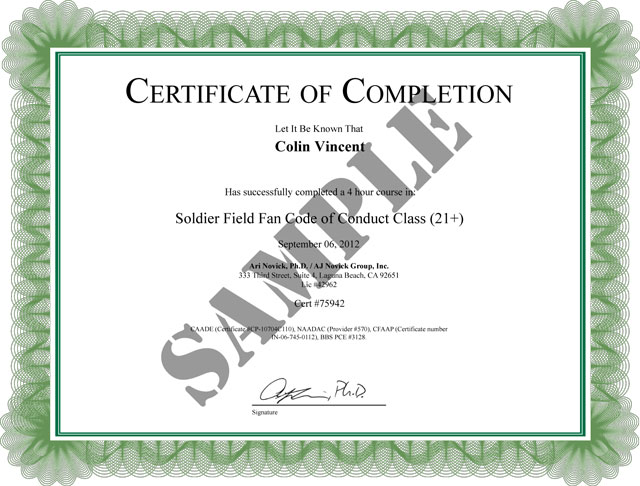 Fan Code Of Conduct Class Of Completion